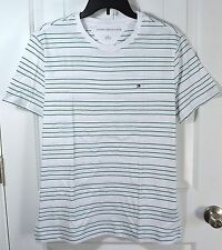NWT MENS TOMMY HILFIGER WHITE GREEN STRIPE SHORT SLEEVE CREW T SHIRT SZ M