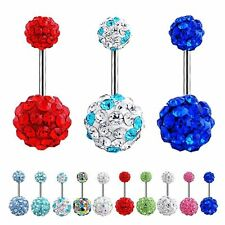 Rhinestone Barbell Piercing Body Jewelry Belly Button Navel Ring Crystal Ball