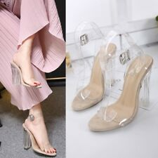 Simple Transparent Block High Heels Sandals Ankle Strap Buckle Chic Ladies Shoes