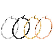 New Womens Stainless Steel Dangle Ring Big Hoop Dangle Ear Circle Round Earring