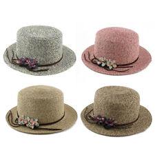Ladies Women Straw Flower Shaped Decoration Traveling Brimmed Sun Cap Beach Hat