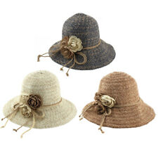 Ladies Straw Flower Design Foldable Summer Traveling Brimmed Sun Cap Beach Hat