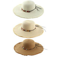 Women Lady Straw Beads Decor Brimmed Beach Hat Topee Floppy Sun Protector Cap
