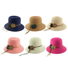 Ladies Straw Flower Design Foldable Summer Traveling Beach Cap Wide Brim Sun Hat