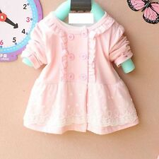 Baby Girls Kids Child Cotton Pretty Lace Long Sleeves Tops T-shirt 6-24m