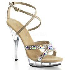 FABULICIOUS High Heel Sandals Strappy Criss Cross Rhinestones LIP-145 Taupe