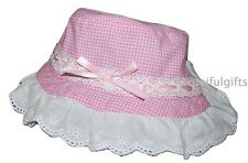 Baby Girls Pink Gingham Broderie Anglaise Bow Summer Sun Hat 6-12 12-24 Months