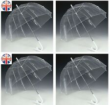 x4 Large Clear Dome See Through Umbrella Handle Transparent Brolly 4 Wedding etc