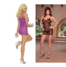 Elegant Moments, Mesh Chemise With Rose Applique & G-String, Sexy Lingerie Set