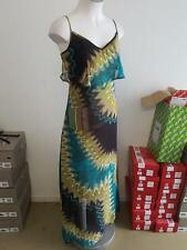 Ladies Ajoy Multi-Coloured Long Maxi Dress Summer Evening Party Size 8