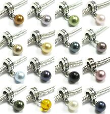 Sterling Silver Crystal Pearl European Dangle Charm Made with Swarovski Elements