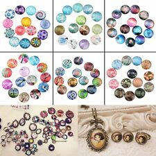 DIY Craft 10/50pcs Photo Image Decoration Round Shape Flat Glass Cabochon 12mm