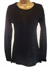 Black Guipure Lace Trim Fine Knit Long Sleeve Tunic Jumper Sweater Size 8 to 16