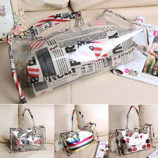 Women's Summer Jelly Candy Clear Transparent Handbag Tote Shoulder Beach Bag *