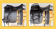 "21"" Saddle for Gaited TWH TB  w/4"" cut back gullet-Suede / Softy Seat Black 4pc"