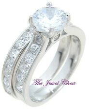 2 Ct Round Diamond Solitaire Engagement Ring Wedding set White Gold Sterling