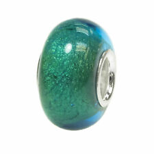 Sterling Silver Round Blue Gold Foiled Glass Bead for European Charm Bracelets