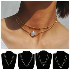 Women 2 Layer Crystal Opal Natural Stone Pendant Necklace Choker Jewelry Charm