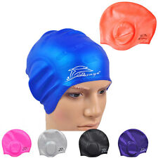 With Ear Cup Fresh Waterproof Adults Silicone Stretch Swimming Cap Long Hair Hat