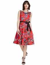 New M&S Per Una Red Floral Fit & Flare Cotton Rich Dress Sz UK 16