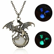 Retro Punk Glow In The Dark Pendant Necklace Magical Dragon Luminous Jewellery