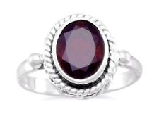 Genuine Sterling Silver Faceted Oval Garnet Ring, January Birthstone Ring