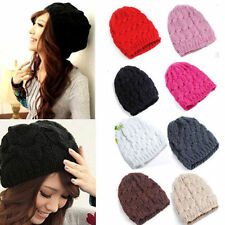 New Women Knit Winter Warm Crochet Hat Braided Baggy Beret Beanie Cap 14