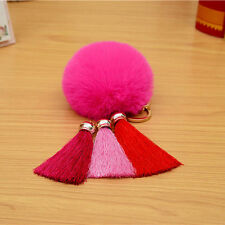 LovelyTassel Rabbit Fur Ball PomPom Car Keychain Handbag Charm Key Ring Pendant