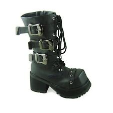 Goth Punk Grunge Rock Chick Emo Cyber Anime Cosplay Combat Calf/Ankle Boots
