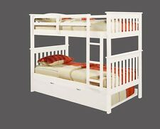 TWIN OVER TWIN BUNK BED W/ DRAWERS, TRUNDLE OR TENT KIT - WHITE
