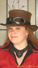 Steampunk Hat Sci Fi Apocalyptic Goggles Futurist Mad Max Leather Top Hat Deluxe