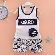 Baby Boys Cute Cartoon Printing  Vest Tops+Shorts Outfits Summer Clothes Set