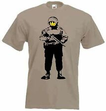BANKSY SMILEY FACE COPPER T-SHIRT - Riot Police Cop - Choice Of Colours