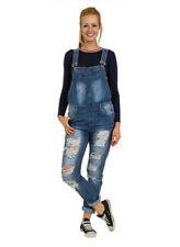 Womens Bib Overalls - Loose Fit Destroyed Denim Bib Overalls Relaxed fit