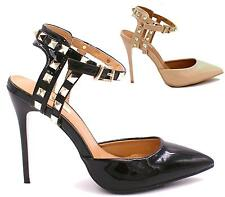WOMENS STILETTO PATENT HIGH HEEL STUD PUMP SANDAL LADIES SHOES ROSE GOLD BLACK S