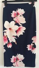 NEW Ex Ladies Navy Floral Blossom Elasticated Waist High Waisted Skirt Size 8-18