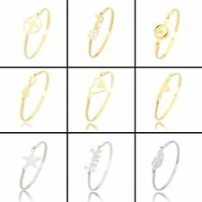Fashion Stainless Steel Love Heart Women Gold Plated Bangle Bracelet Jewelry Hot