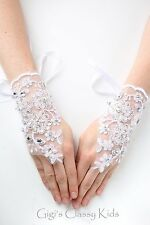 Kids Girls Lace Satin Fingerless White Gloves First Communion Wedding Pageant