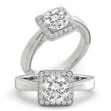 Diamond Engagement Ring Round Cut Natural GIA Certified 18k White Gold 2.05 tcw