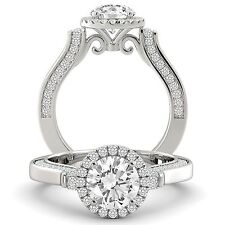 Diamond Engagement Ring Round Cut Natural GIA Certified 14k White Gold 1.95 tcw