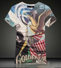 New Just Cavalli Men's Eagle Soft Summer Casual Graphic V-Neck T-shirt Tops