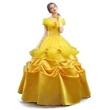 Adult Deluxe Princess Belle Costume Beauty and The Beast Cosplay Party Ball Gown