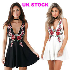 UK Womens Sleeveless Floral Clubwear Plunge V Neck Cocktail Mini Skater Dress