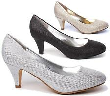 LADIES KITTEN HEEL WOMENS SHIMMER BRIDAL WEDDING PROM COURT SHOES SIZE 3-8