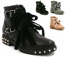 LADIES PINK GREY BLACK SPIKE STUDS FUNKY FASHION PUNK GOTH LACE ANKLE BOOTS SHOE