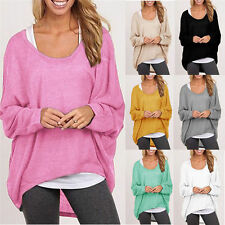 New Women Loose Long Sleeve Casual Batwing Shirt Top Oversized Jumper Blouse Tee