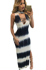 New Women Sexy Summer Sleeveless Black Whit Tie Dye Print Sexy Cutout Maxi Dress