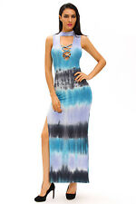 New Women Sexy Summer Sleeveless Bluish Tie Dye Print Sexy Cutout Maxi Dress