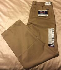 New IZOD American Chino Flat Front Pants Men's Sizes 32 & 34 NWT Mens Khaki  BIN