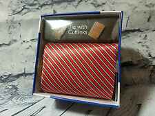 Mens Fathers Day Gift Present Tie With Cuff Links Blue One Size